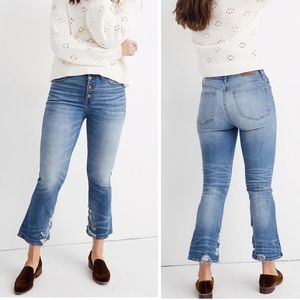 Madewell Cali Demi-Boot Jeans Bess Wash Button Fly